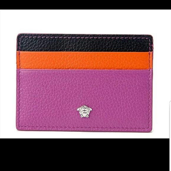 Versace Handbags - Versace Medusa Leather Credit Card Slim Wallet